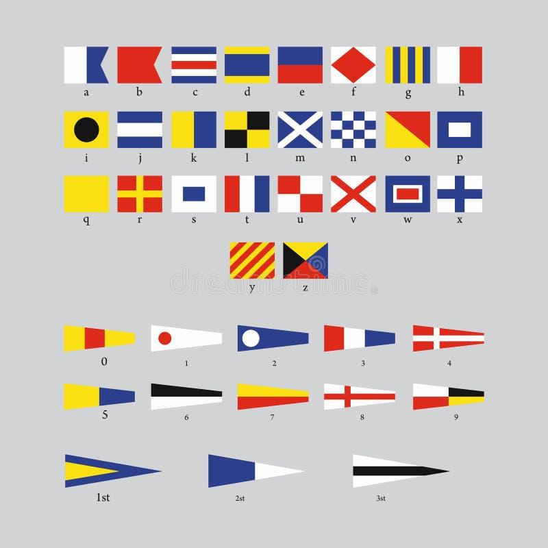 Bandeiras náuticas do sinal marítimo internacional, alfabeto de morse isoladas no fundo cinzento ilustração stock