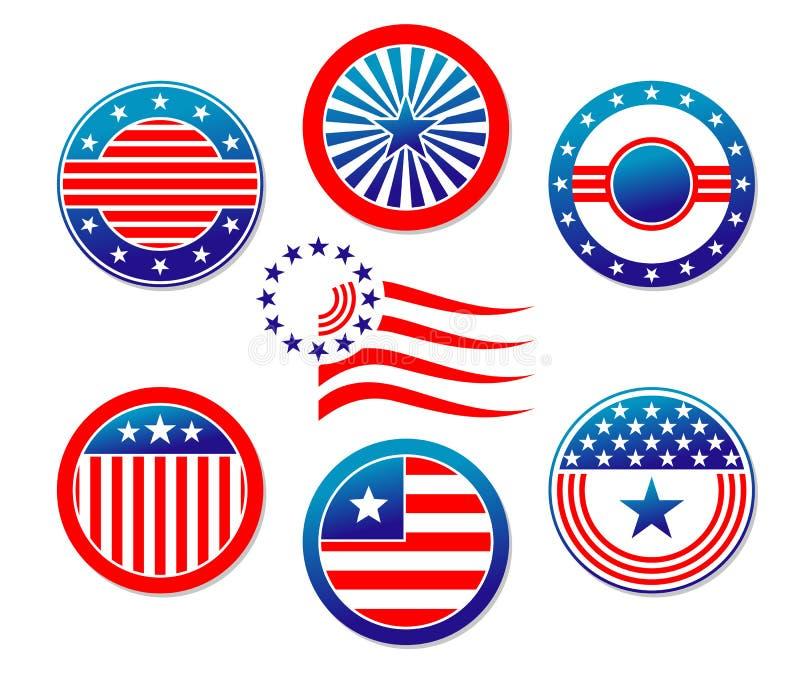 Bandeiras nacionais americanas ilustração do vetor