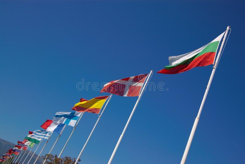 Bandeiras nacionais européias na fileira fotografia de stock royalty free