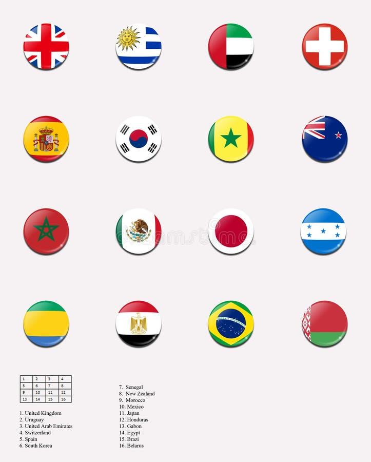 Bandeiras nacionais para o jogo de futebol dos homens em Londres Oly ilustração stock