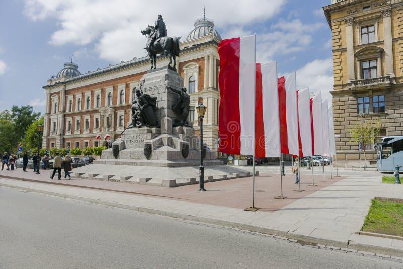 Bandeiras nacionais polonesas imagens de stock