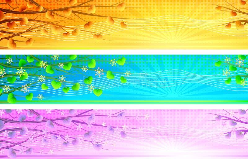 Bandeiras naturais florais da manhã ilustração royalty free