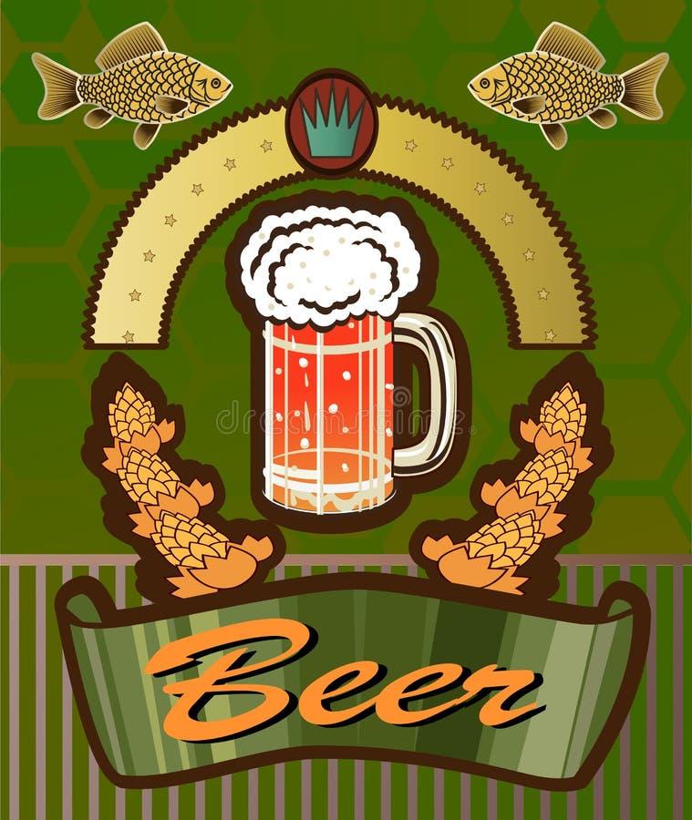 Bandeiras no assunto com cerveja ilustração do vetor