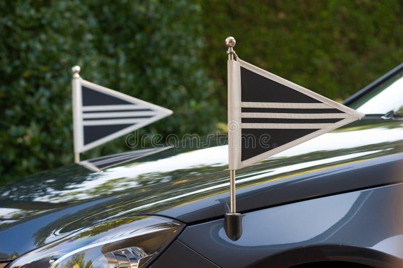 Bandeiras no carro foto de stock