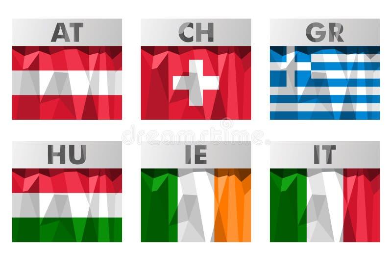 Bandeiras no estilo poligonal ilustração do vetor