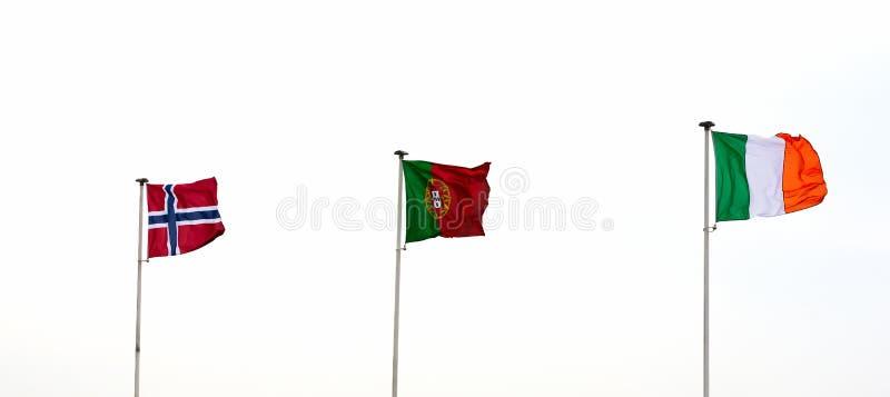 Bandeiras norueguesas, portuguesas e italianas fotografia de stock