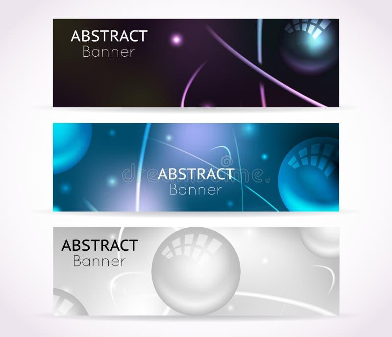 Bandeiras nucleares do átomo Nanotecnologia e fundos físicos da bandeira da tecnologia ilustração do vetor