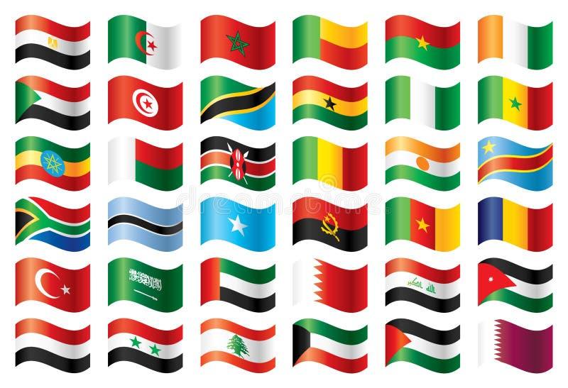 Bandeiras onduladas ajustadas - África & Médio Oriente ilustração stock