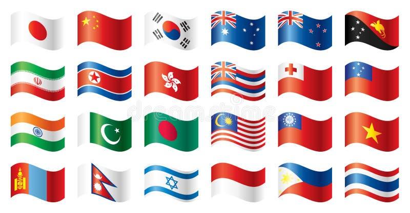 Bandeiras onduladas ajustadas - Ásia & Oceania ilustração royalty free