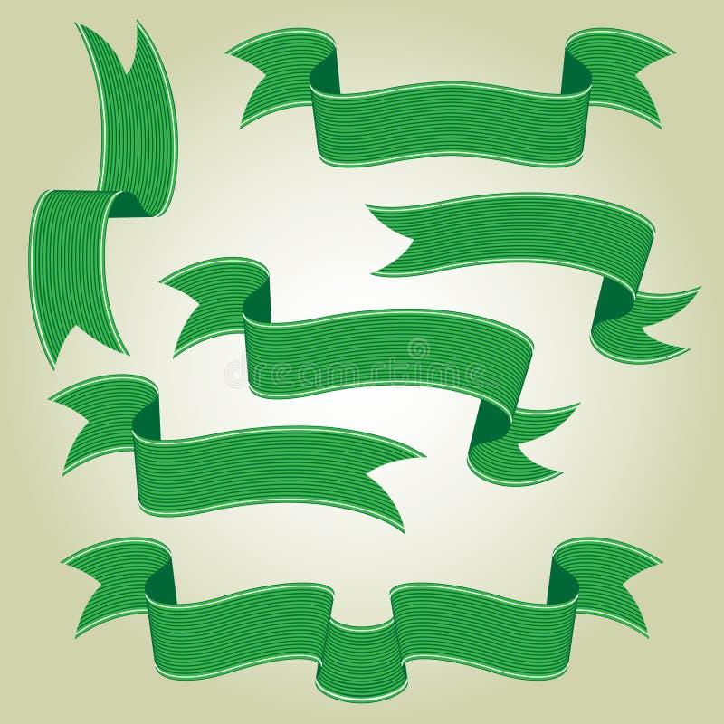 Bandeiras ou fitas verdes ajustadas ilustração stock