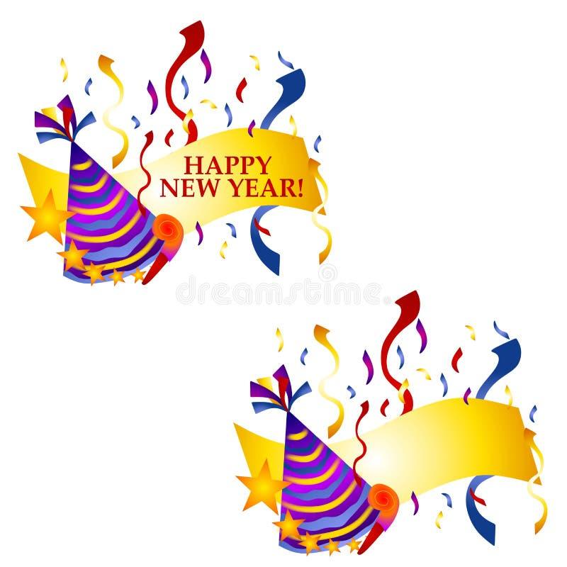 Bandeiras ou logotipos do ano novo feliz ilustração royalty free