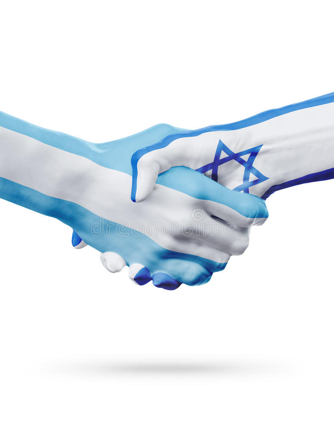 Bandeiras países de Argentina, Israel, parceria, equipe de esportes nacional fotografia de stock royalty free