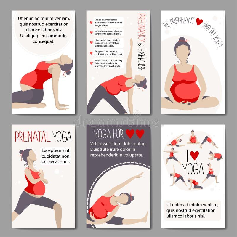 Bandeiras para anunciar a ioga grávida ilustração royalty free