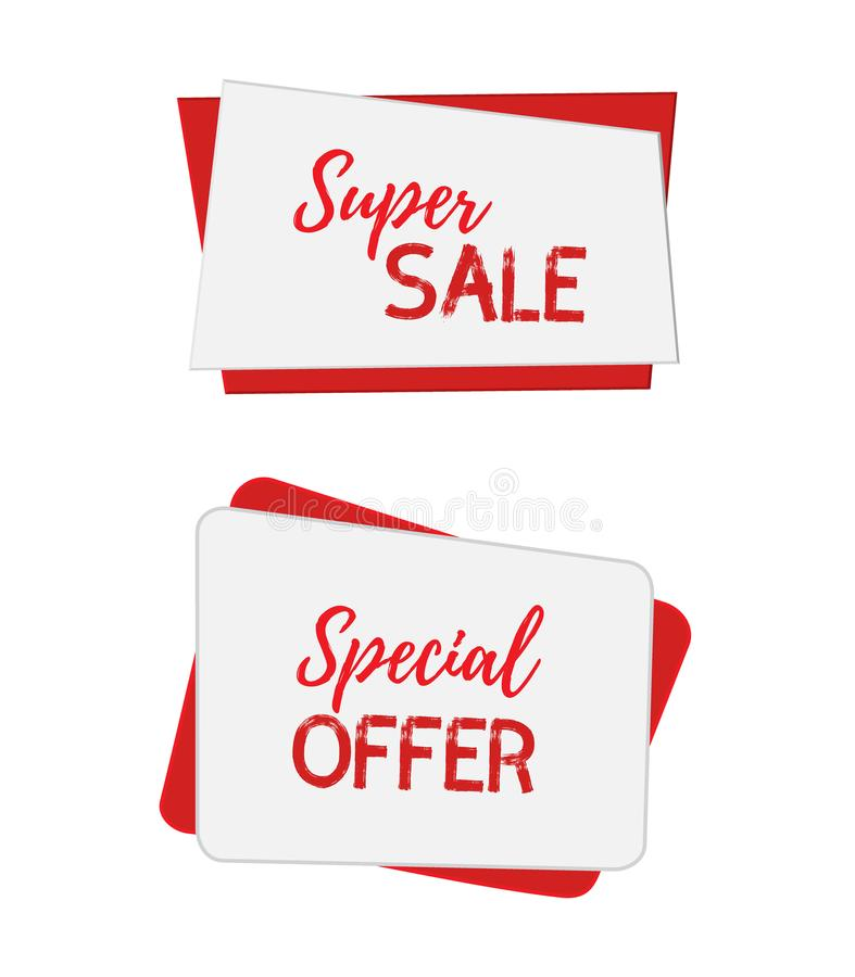 Bandeiras para a venda, ofertas especiais do vetor Cartazes para o Internet, design web, molde, zombaria acima das etiquetas Esti ilustração stock