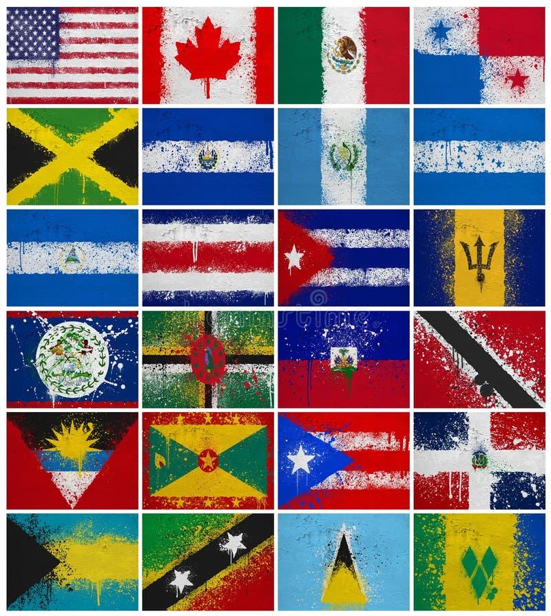 Bandeiras pintadas de America do Norte ilustração do vetor