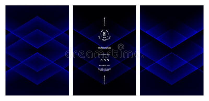 Bandeiras pretas e azuis com formas geométricas Textura de néon de incandescência do sumário Projeto futurista da bandeira ilustração royalty free
