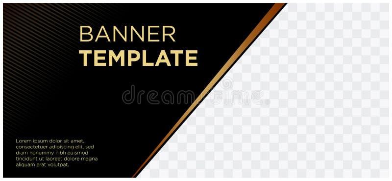 Bandeiras pretas e empresa landscape-06 comercial do Web site do encabeçamento do ouro ilustração royalty free