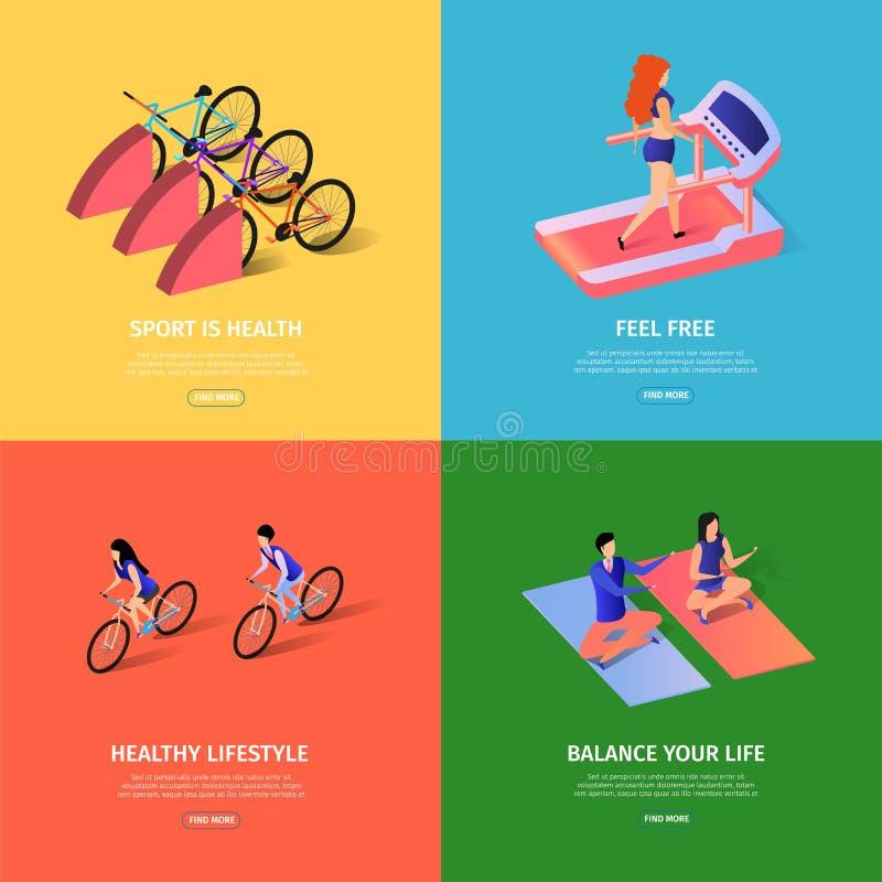 Bandeiras quadradas brilhantes de Sportish ajustadas com espa?o da c?pia ilustração stock