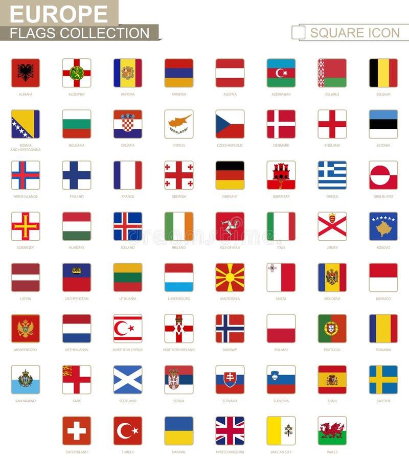 Bandeiras quadradas de Europa De Albânia a Gales ilustração stock
