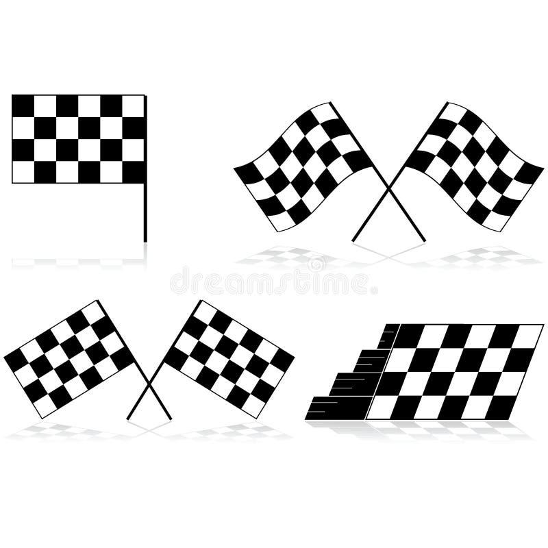 Bandeiras quadriculado ilustração royalty free