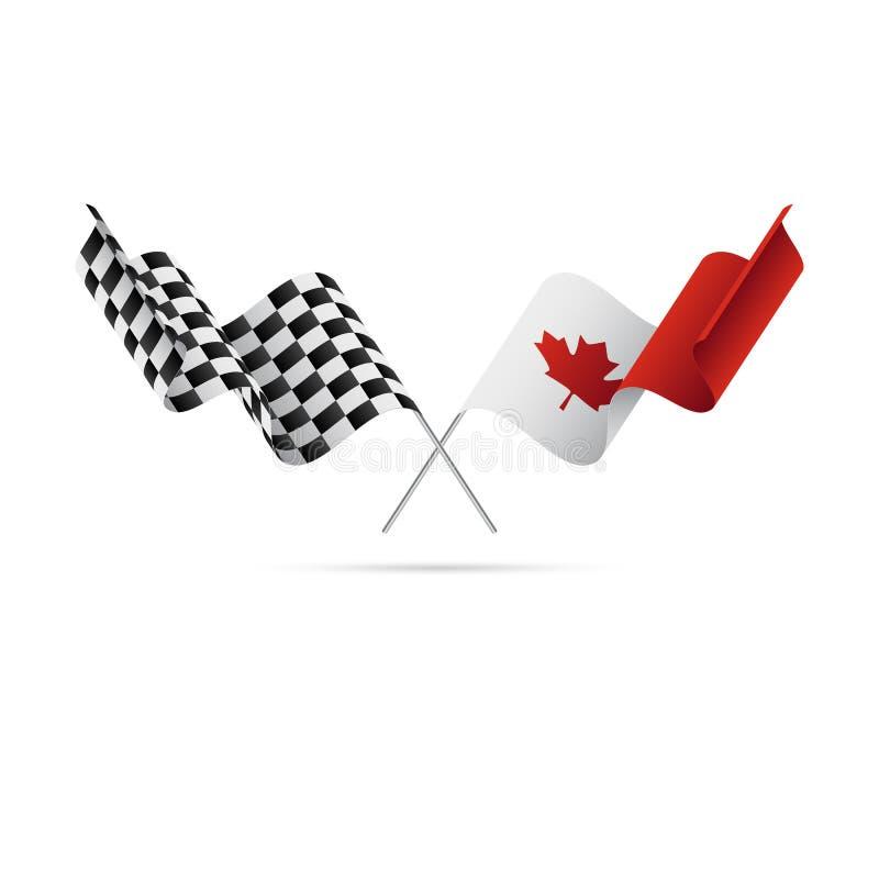 Bandeiras quadriculado e de Canadá Ilustração do vetor ilustração do vetor