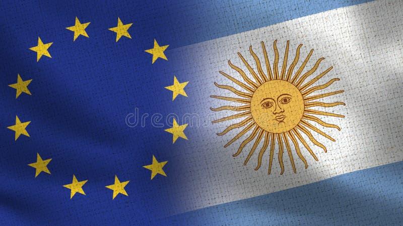 Bandeiras realísticas da UE e da Argentina meias junto ilustração do vetor