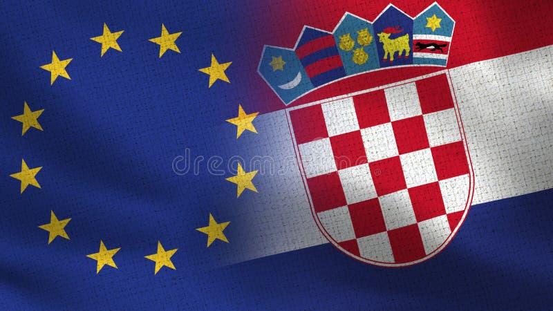 Bandeiras realísticas da UE e da Croácia meias junto ilustração do vetor