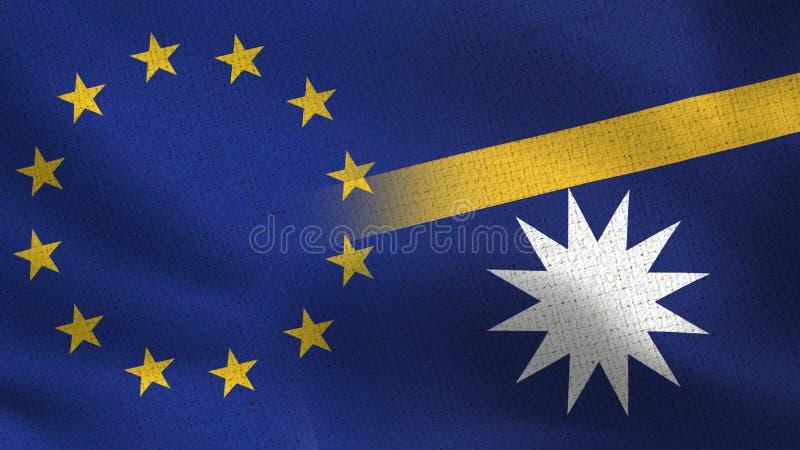 Bandeiras realísticas da UE e do Nauru meias junto ilustração stock