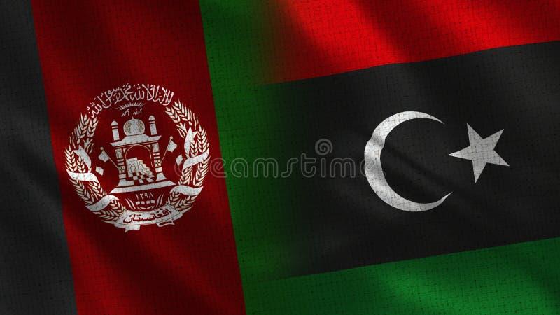 Bandeiras realísticas de Afeganistão e de Líbia meias junto imagem de stock