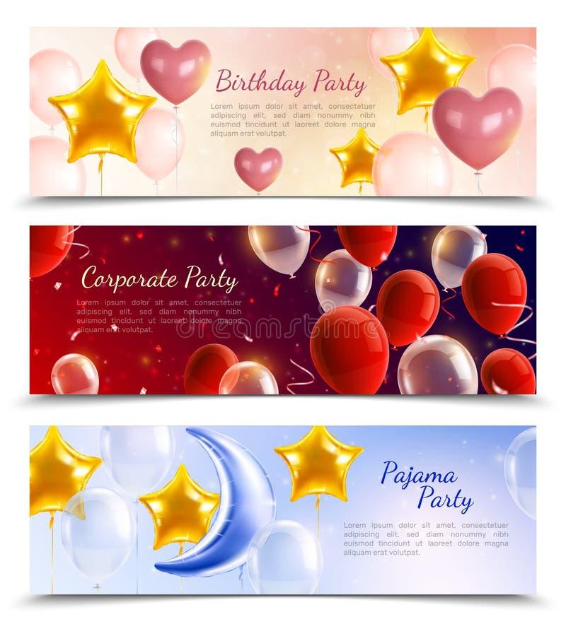 Bandeiras realísticas do partido dos balões ilustração royalty free