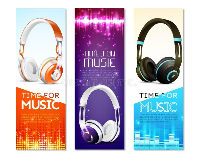 Bandeiras realísticas do vertical dos fones de ouvido ilustração royalty free