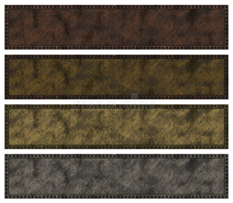 Bandeiras rebitadas do grunge. ilustração do vetor