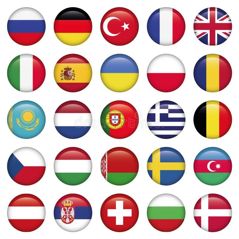 Bandeiras redondas dos ícones europeus ilustração stock