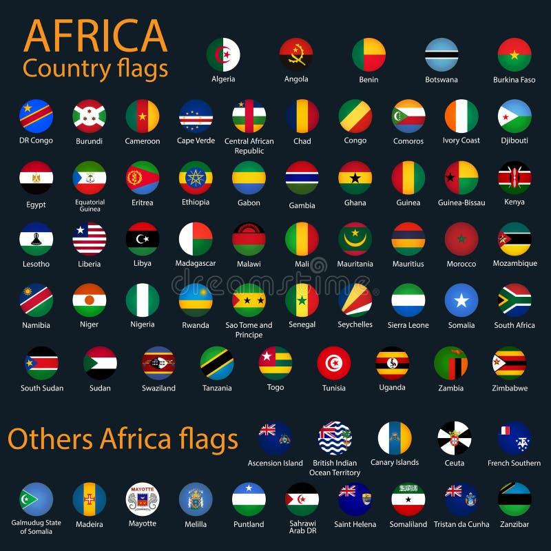 Bandeiras redondas lisas de África no fundo preto ilustração stock