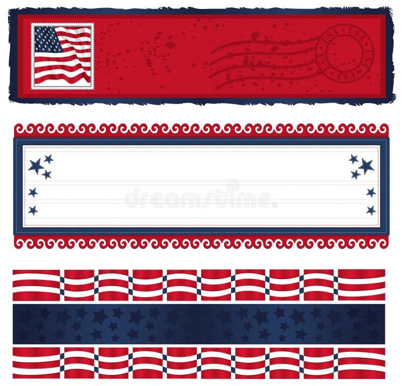 Bandeiras referentes à cultura norte-americana demasiado ilustração do vetor