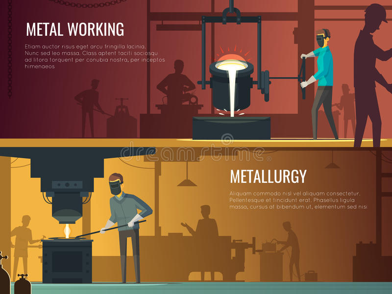 Bandeiras retros da fundição 2 industriais da metalurgia ilustração stock