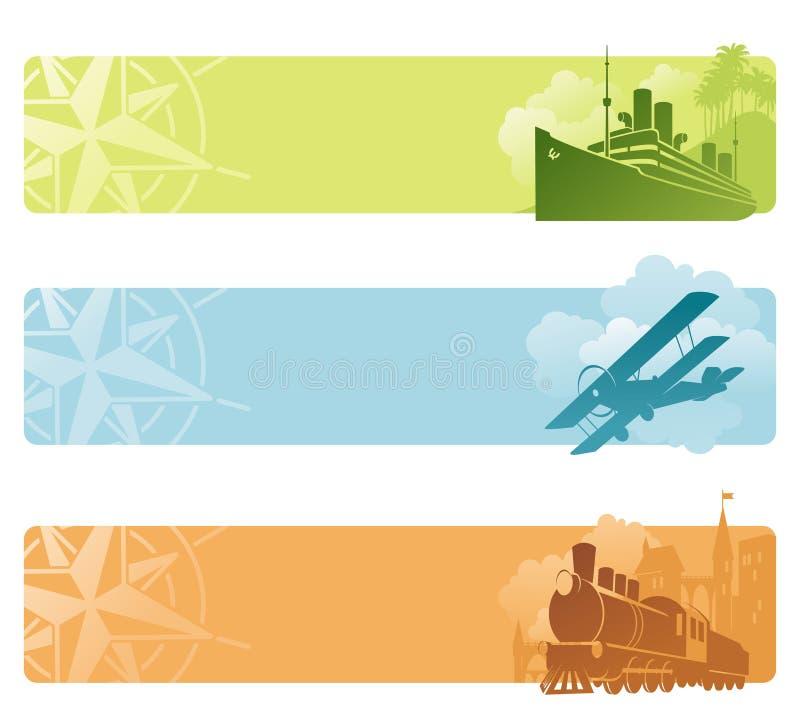 Bandeiras retros do transporte ilustração do vetor