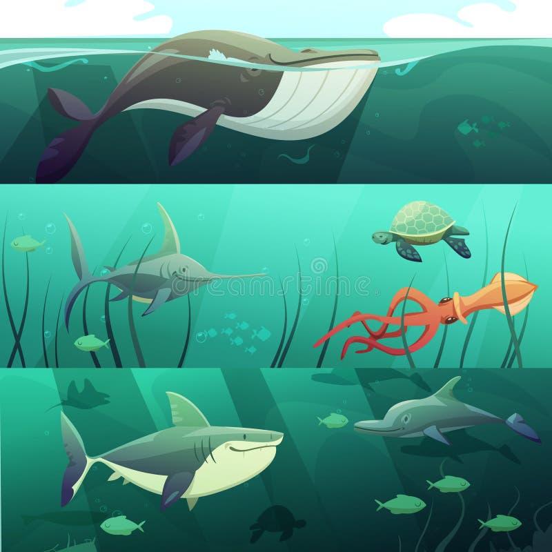 Bandeiras retros dos desenhos animados da vida subaquática ajustadas ilustração stock