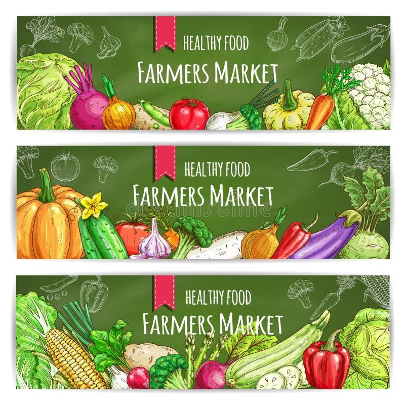 Bandeiras saudáveis do alimento dos fazendeiros dos vegetais ajustadas ilustração do vetor