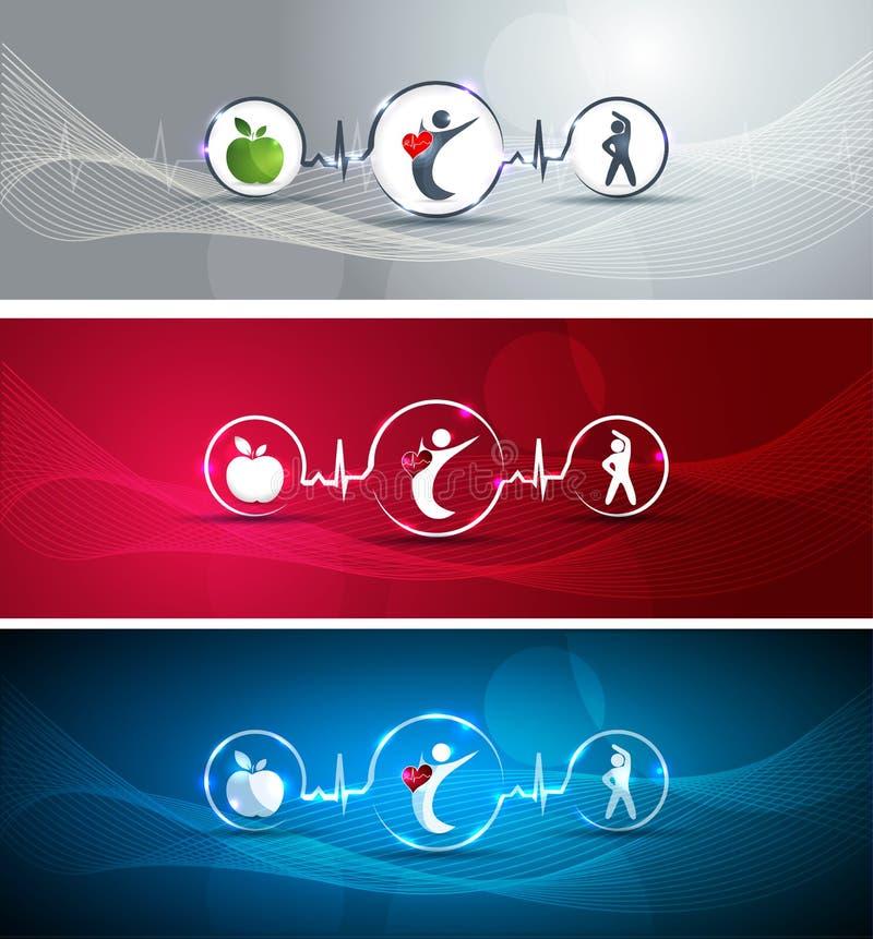 Bandeiras saudáveis do ser humano e do coração ilustração stock