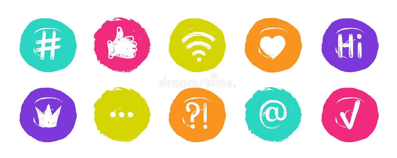 Bandeiras sociais de Hashtag Citações na moda dos blogues em bolhas do discurso, assuntos sociais populares dos meios Grupo do íc ilustração royalty free