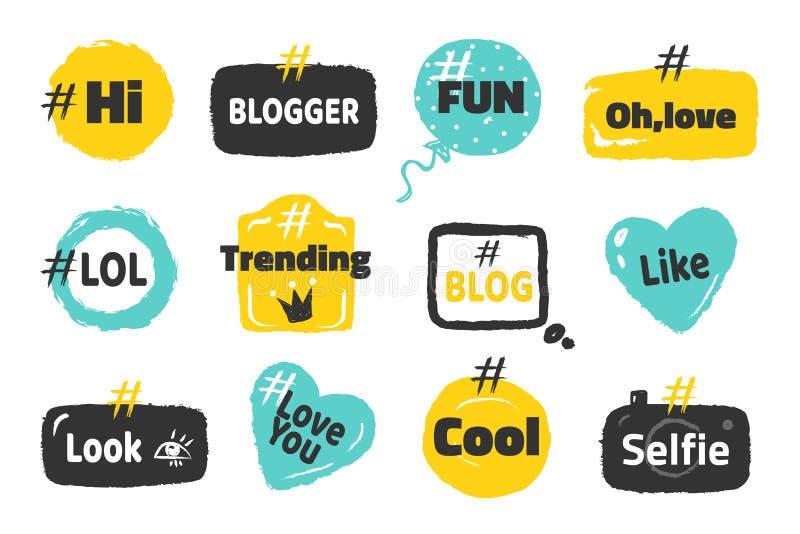 Bandeiras sociais de Hashtag Logotipos na moda conceito do calão do blogue, projeto da etiqueta do cargo do divertimento na bolha ilustração do vetor
