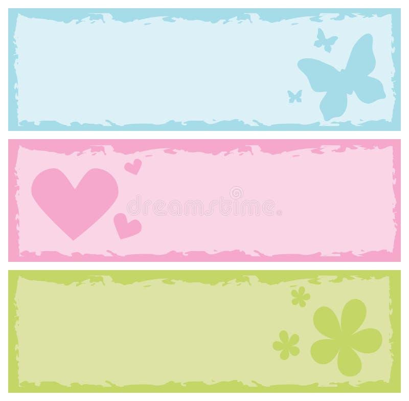 Bandeiras sujas com borboletas, corações, flores ilustração royalty free