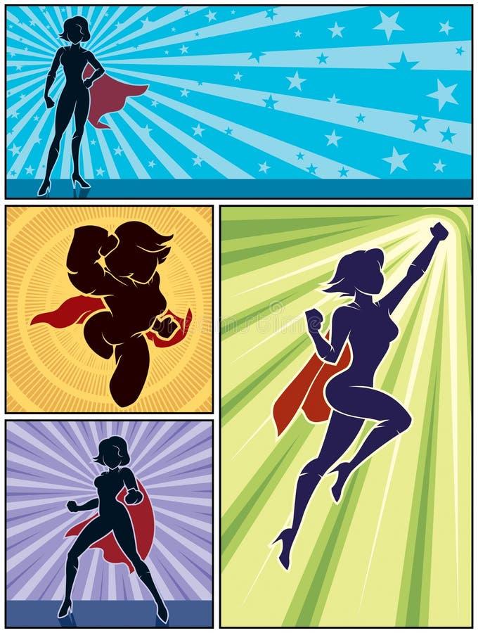 Bandeiras super 1 da heroína ilustração stock