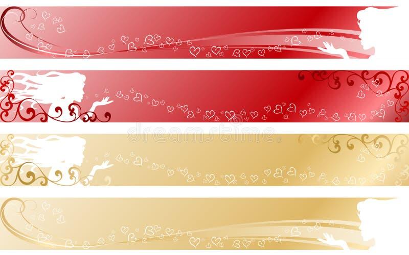 Bandeiras temáticos do amor ilustração do vetor