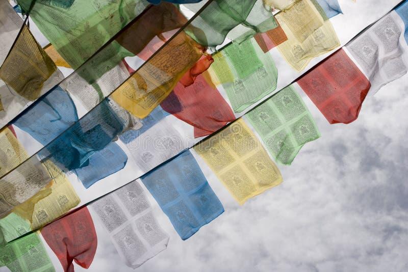 Bandeiras tibetanas da oração em Lhasa imagem de stock
