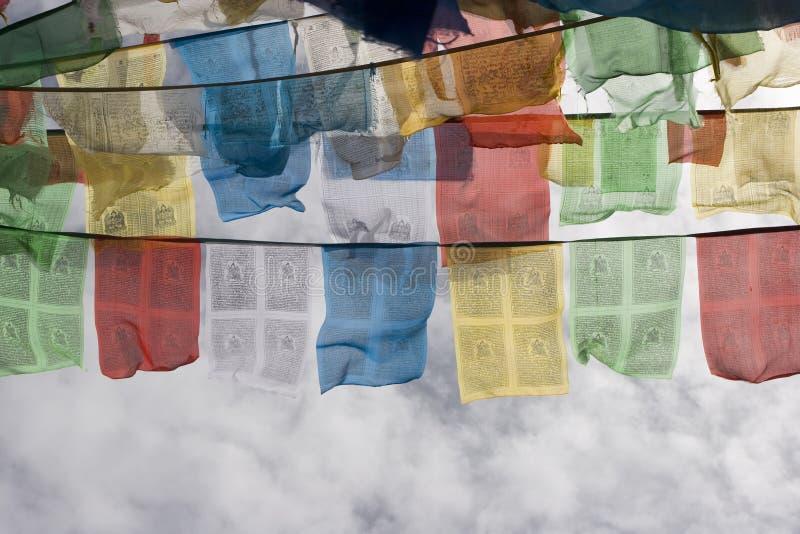 Bandeiras tibetanas da oração em Lhasa foto de stock royalty free