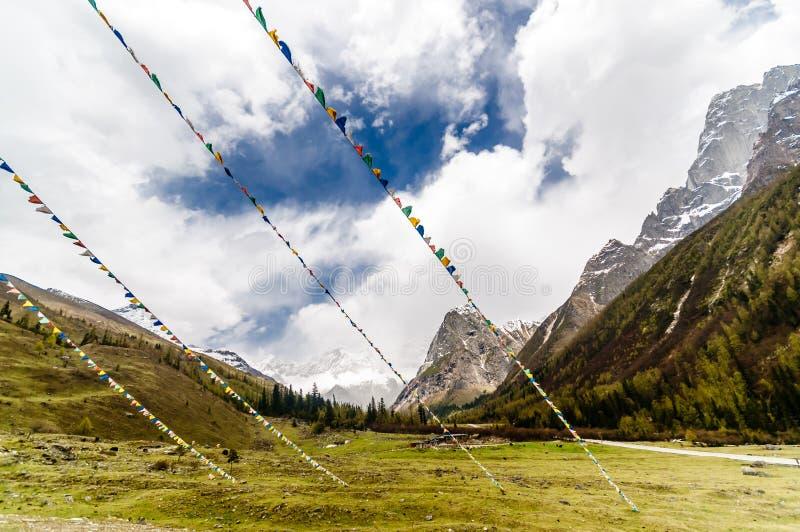 Bandeiras tibetanas da oração na paisagem da montanha de China fotografia de stock royalty free