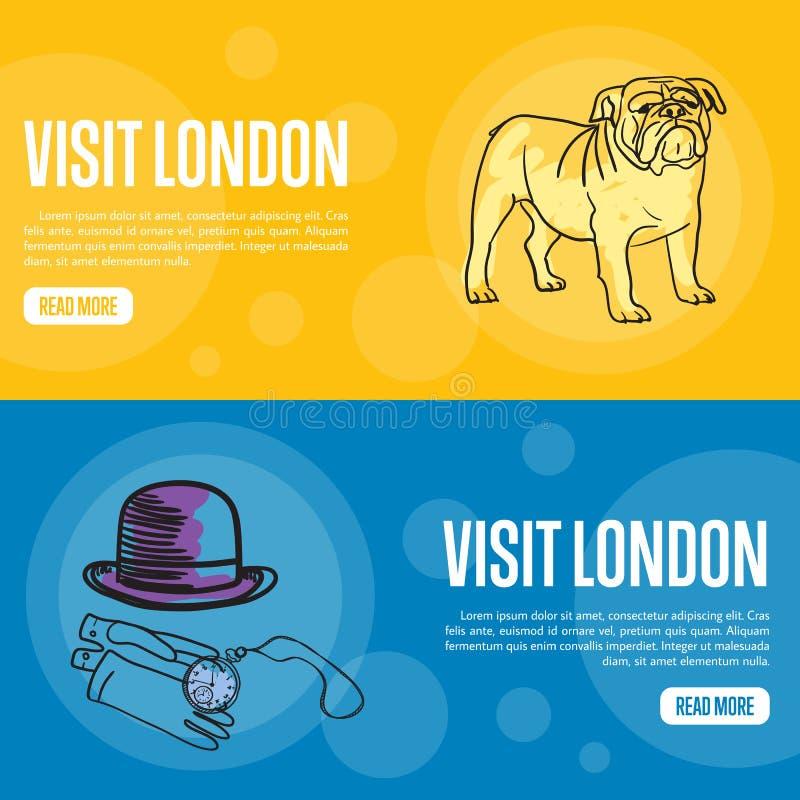 Bandeiras turísticas da Web do vetor de Londres da visita ilustração stock