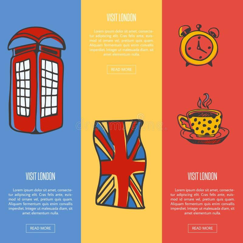 Bandeiras turísticas da Web do vetor de Londres da visita ilustração royalty free